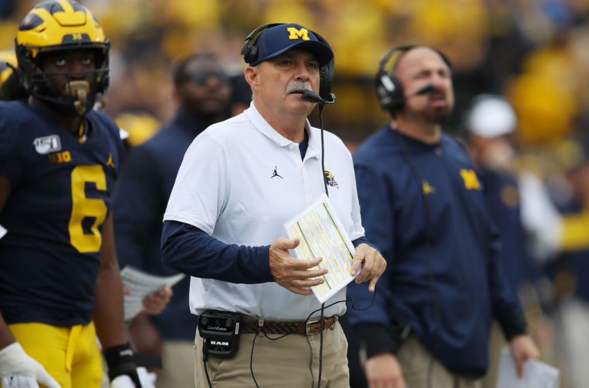 ANN ARBOR, MICHIGAN - SEPTEMBER 28: Defensive coordinator Don Brown of the Michigan Wolverines look on during the second half while playing the Rutgers Scarlet Knights at Michigan Stadium on September 28, 2019 in Ann Arbor, Michigan. (Photo by Gregory Shamus/Getty Images)