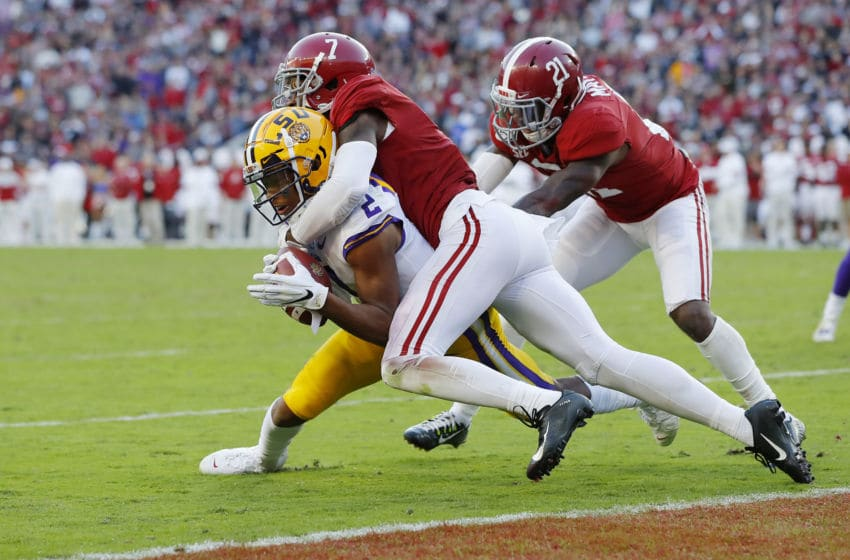 TUSCALOOSA, ALABAMA - NOVEMBER 09: Justin Jefferson #2 of the LSU Tigers is tackled by Trevon Diggs #7 of the Alabama Crimson Tide short of the goal line during the first half in the game at Bryant-Denny Stadium on November 09, 2019 in Tuscaloosa, Alabama. (Photo by Kevin C. Cox/Getty Images)