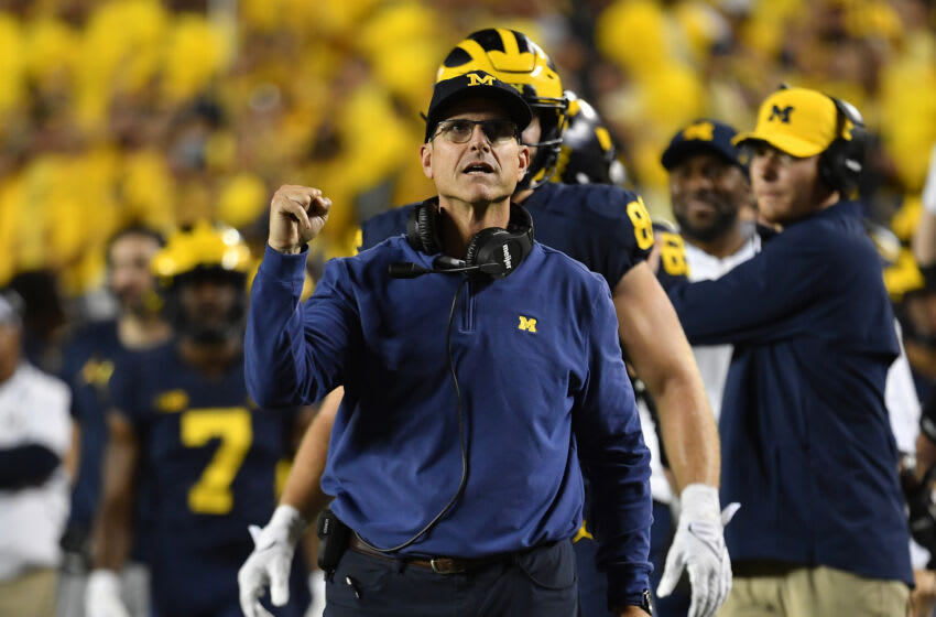 ANN ARBOR, MICHIGAN - SEPTEMBER 11: Head coach Jim Harbaugh of the Michigan Wolverines reacts during the second half of the game against the Washington Huskies at Michigan Stadium on September 11, 2021 in Ann Arbor, Michigan. The Wolverines won 31-10. (Photo by Alika Jenner/Getty Images)