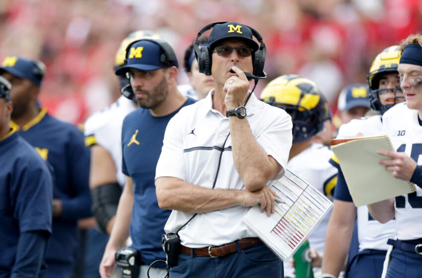 MADISON, WISCONSIN - OCTOBER 02: Michigan head coach Jim Harbaugh during the game against the Wisconsin Badgers at Camp Randall Stadium on October 02, 2021 in Madison, Wisconsin. Michigan defeated Wisconsin 38-17. (Photo by John Fisher/Getty Images)