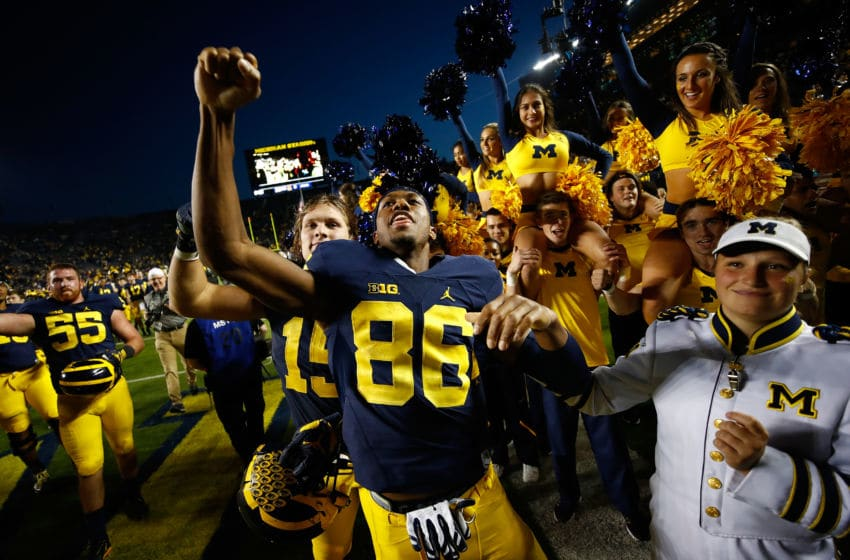 ANN ARBOR, MI - NOVEMBER 05: Jehu Chesson #86 of the Michigan Wolverines celebrates a 59-3 win over the Maryland Terrapins on November 5, 2016 at Michigan Stadium in Ann Arbor, Michigan. (Gregory Shamus/Getty Images)