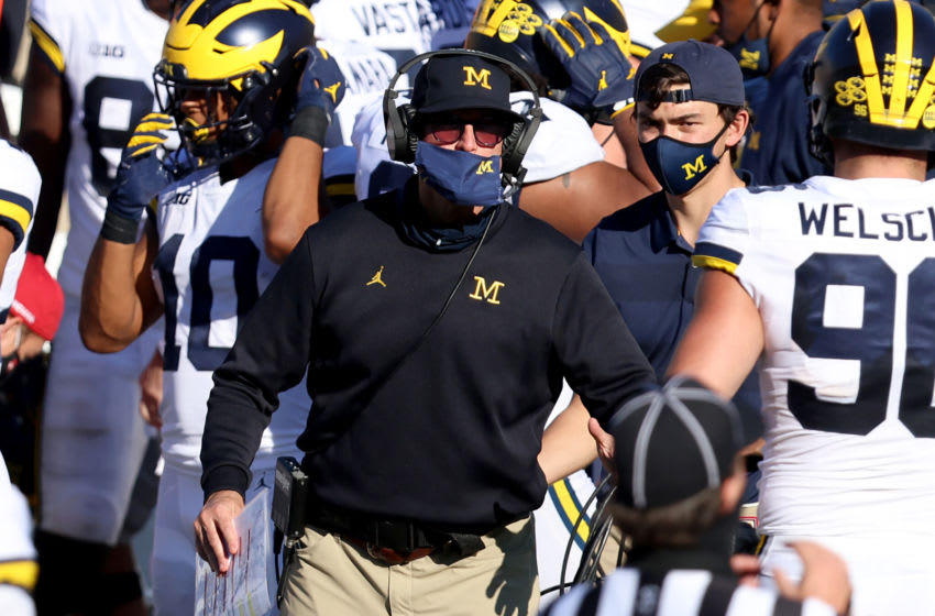 BLOOMINGTON, INDIANA - NOVEMBER 07: Head coach Jim Harbaugh of the Michigan Wolverines on the sidelines in the game against the Indiana Hoosiers at Memorial Stadium on November 07, 2020 in Bloomington, Indiana. (Photo by Justin Casterline/Getty Images)