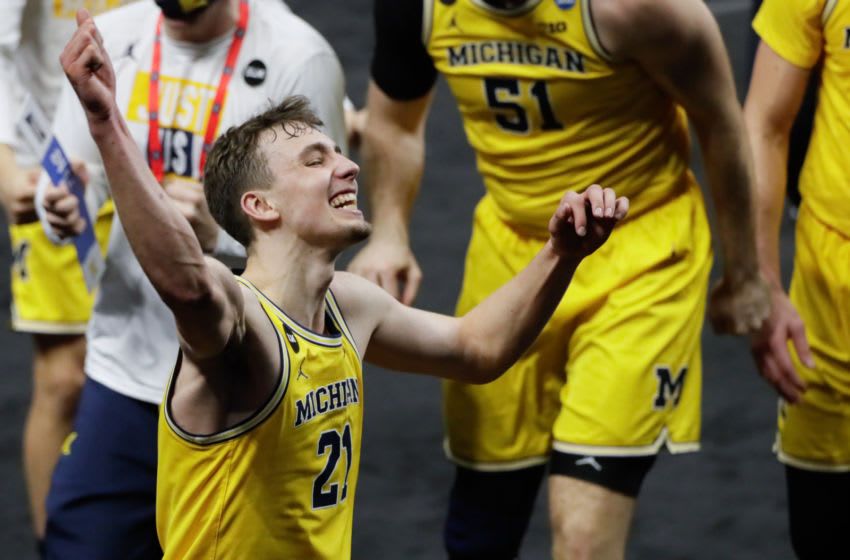 Michigan Wolverines guard Franz Wagner (21) dances after their 86-78 victory against the LSU Tigers during the second round of the 2021 NCAA Tournament on Monday, March 22, 2021, at Lucas Oil Stadium in Indianapolis, Ind. Mandatory Credit: Barbara Perenic/IndyStar via USA TODAY Sports