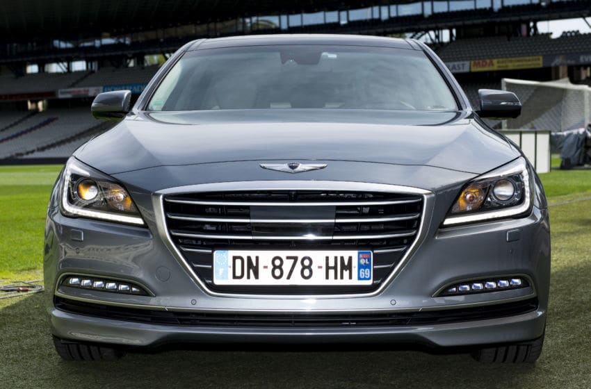 LYON, FRANCE - APRIL 15, 2015 : the president of OL Football Club, Jean-Michel Aulas is photographed with the Hyundai Genesis on april 15, 2015 in Lyon, France. (photo by Philippe Petit/Paris Match via Getty Images)