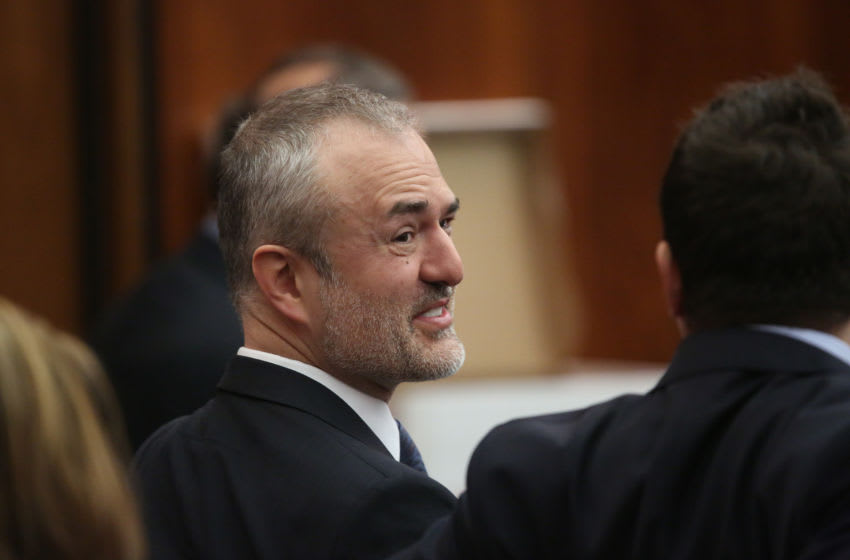 ST PETERSBURG, FL - MARCH 08: NY POST OUT Nick Denton, founder of Gawker, talks with his legal team before Terry Bollea, aka Hulk Hogan, testifies in court during his trial against Gawker Media at the Pinellas County Courthouse on March 8, 2016 in St Petersburg, Florida. Bollea is taking legal action against Gawker in a USD 100 million lawsuit for releasing a video of him having sex with his best friends wife. (Photo by John Pendygraft-Pool/Getty Images)