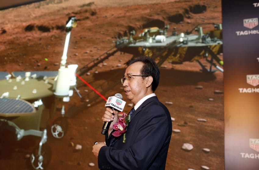 BEIJING, CHINA - AUGUST 23: Liu Jizhong, director of the lunar exploration program and space engineering center under the State Administration of Science, Technology and Industry for National Defense, introduces Mars probe and rover on a press conference for the collection competition of the name and the logo of China's Mars exploration program on August 23, 2016 in Beijing, China. China debuts images of Mars probe and rover which the country plans to send to the Red Planet within five years. News from the State Administration of Science, Technology and Industry for National Defense that China's Mars exploration program plans to carry out in 2020, also called 2020 mission. (Photo by VCG/VCG via Getty Images)