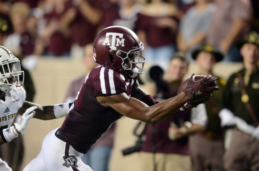 COLLEGE STATION, TX - AUGUST 29: Texas A&M Aggies WR Jhamon Ausbon catches a pass during game against the Texas State Bobcats on August 29, 2019 at Kyle Field in College Station, TX. (Photo by John Rivera/Icon Sportswire via Getty Images)