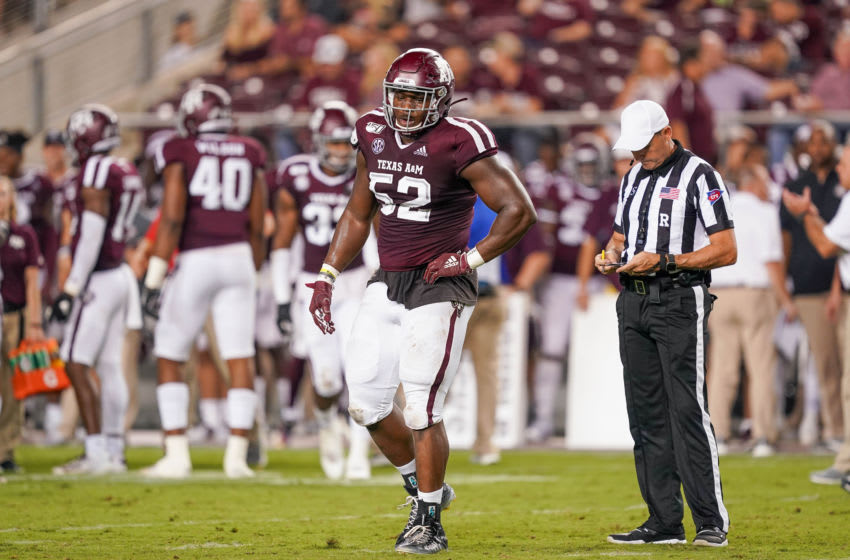 COLLEGE STATION, TX - AUGUST 29: Texas A&M Aggies defensive lineman Justin Madubuike (52) looks over during the game between the Texas State Bobcats and Texas A&M Aggies on August 29, 2019 at Kyle Field in College Station, Texas. (Photo by Daniel Dunn/Icon Sportswire via Getty Images)