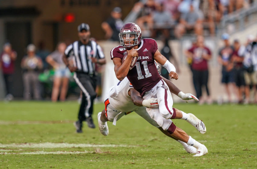COLLEGE STATION, TX - SEPTEMBER 21: Texas A&M Aggies quarterback Kellen Mond (11) makes a cut during the game between the Auburn Tigers and the Texas A&M Aggies on September 21, 2019 at Kyle Field in College Station, Texas. (Photo by Daniel Dunn/Icon Sportswire via Getty Images)
