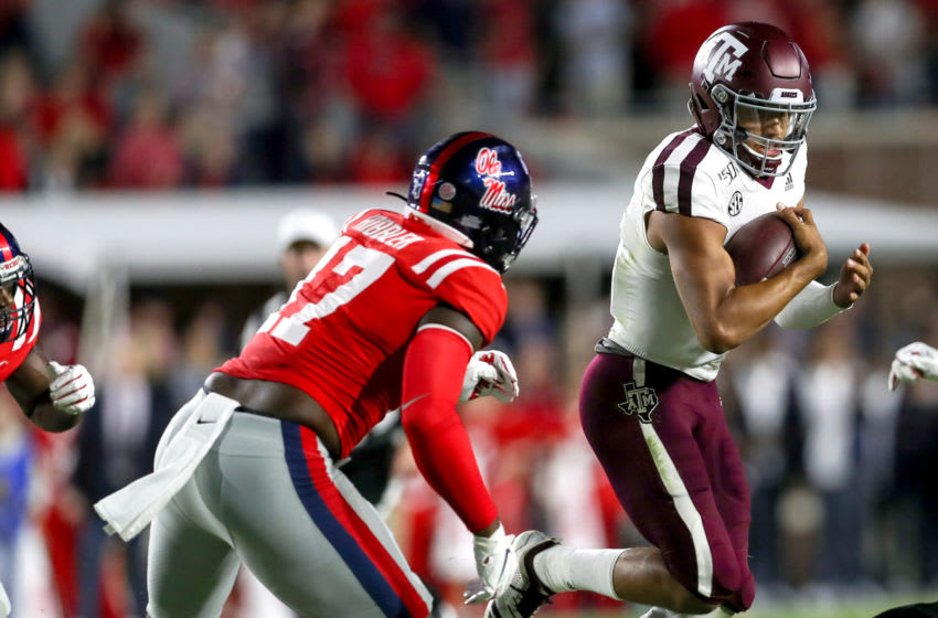 OXFORD, MS - OCTOBER 19: Texas A&M Aggies quarterback Kellen Mond tries to get to the corner against Ole Miss Rebels linebacker Willie Hibbler (17) during the game between the Texas A&M Aggies and the Ole Miss Rebels on October 19, 2019 at Vaught-Hemingway Stadium in Oxford, MS. (Photo by Steve Nurenberg/Icon Sportswire via Getty Images)