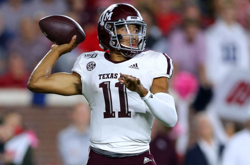 OXFORD, MISSISSIPPI - OCTOBER 19: Kellen Mond #11 of the Texas A&M Aggies throws the ball during the first half against the Mississippi Rebels at Vaught-Hemingway Stadium on October 19, 2019 in Oxford, Mississippi. (Photo by Jonathan Bachman/Getty Images)