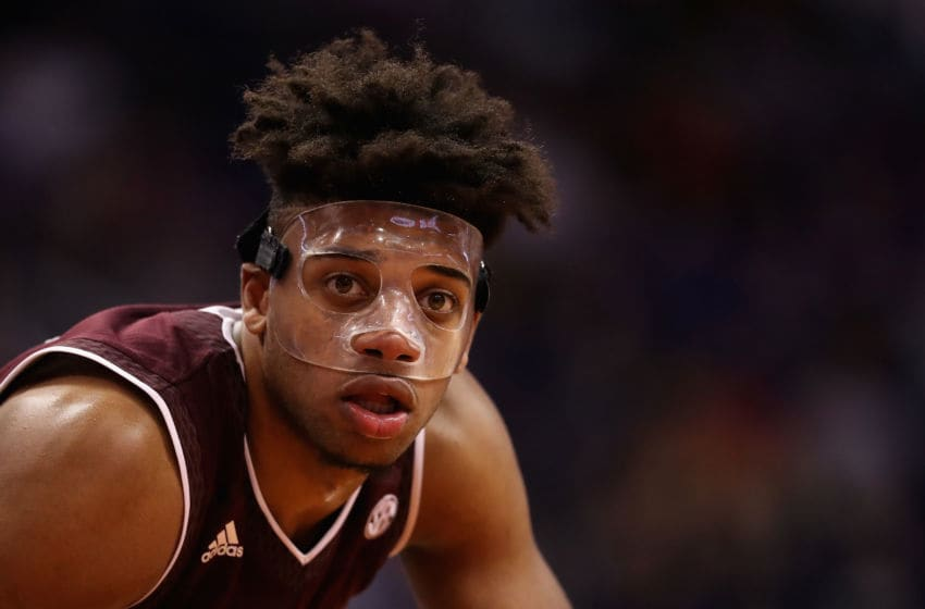 PHOENIX, AZ - DECEMBER 05: Savion Flagg #5 of the Texas A&M Aggies leans in during a free-throw shot in the second half of the college basketball game against the Arizona Wildcats at Talking Stick Resort Arena on December 5, 2017 in Phoenix, Arizona. The Wildcats defeated the Aggies 67-64. (Photo by Christian Petersen/Getty Images)