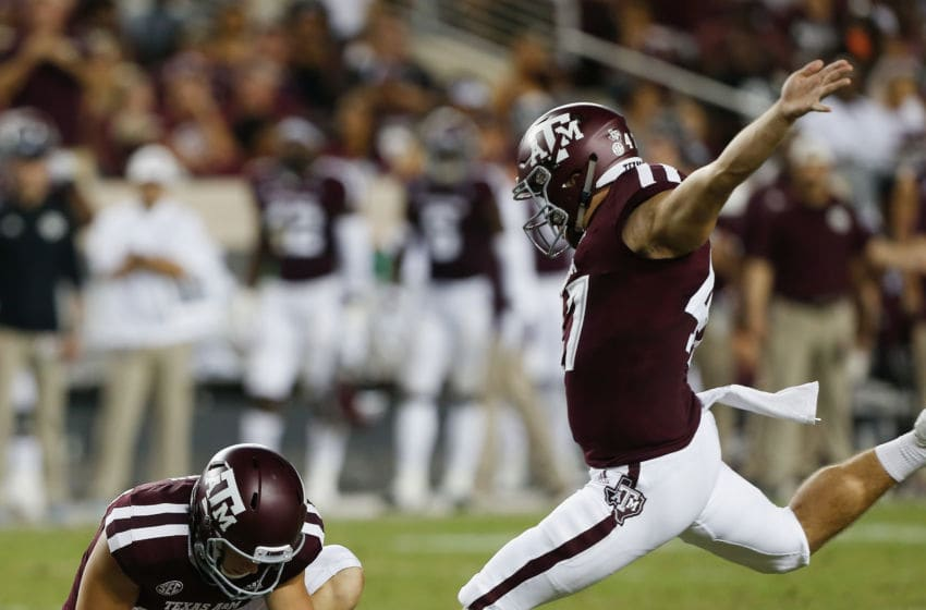 COLLEGE STATION, TX - SEPTEMBER 15: Seth Small #47 of the Texas A&M Aggies kicks a 40 yard field goal in the second quarter against the Louisiana Monroe Warhawks at Kyle Field on September 15, 2018 in College Station, Texas. (Photo by Bob Levey/Getty Images)
