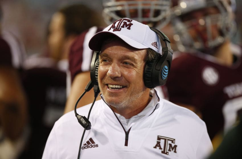 JACKSONVILLE, FL - DECEMBER 31: Texas A&M Aggies head coach Jimbo Fisher is all smiles during the Taxpayer Gator Bowl game between the NC State Wolfpack and the Texas A&M Aggies on December 31, 2018 at TIAA Bank Field in Jacksonville, Fl. (Photo by David Rosenblum/Icon Sportswire via Getty Images)
