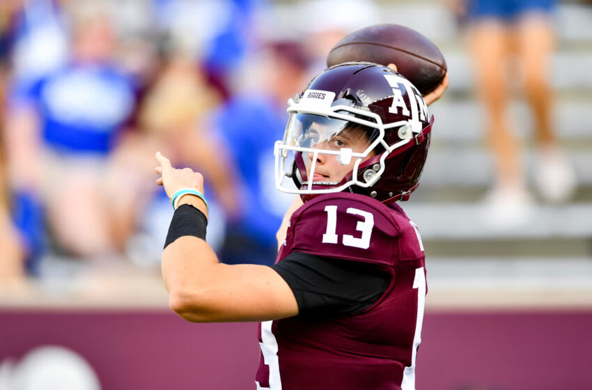 Sep 4, 2021; College Station, Texas, USA; Texas A&M Aggies quarterback Haynes King (13) warming up prior to the game against the Kent State Golden Flashes at Kyle Field. Mandatory Credit: Maria Lysaker-USA TODAY Sports