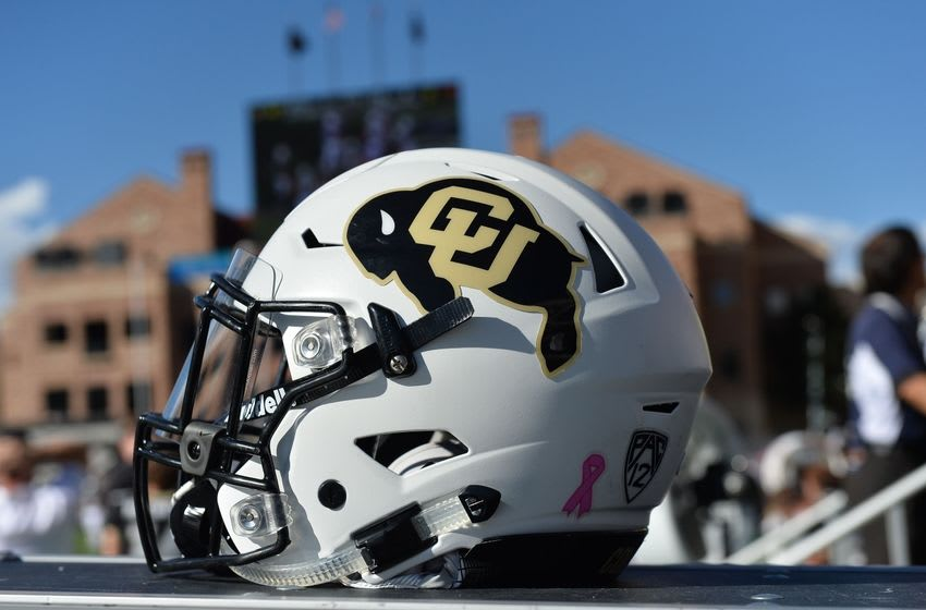 Oct 1, 2016; Boulder, CO, USA; General view of a Colorado Buffaloes helmet with breast cancer awareness emblem in the second half of the game against the Oregon State Beavers at Folsom Field. The Buffaloes defeated Beavers 47-6. Mandatory Credit: Ron Chenoy-USA TODAY Sports