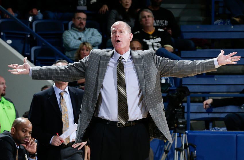 Dec 19, 2016; Colorado Springs, CO, USA; Colorado Buffaloes head coach Tad Boyle reacts after a play in the second half against the Air Force Falcons at Clune Arena. The Buffaloes won 75-68. Mandatory Credit: Isaiah J. Downing-USA TODAY Sports