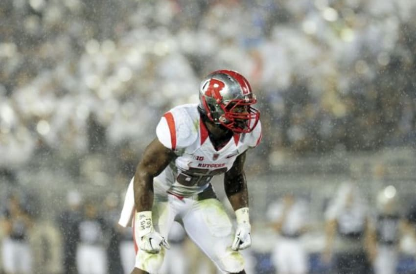 Sep 19, 2015; University Park, PA, USA; Rutgers Scarlet Knights linebacker Quentin Gause (50) prepares for a play as the rain fall in the second quarter against the Penn State Nittany Lions at Beaver Stadium. Mandatory Credit: Evan Habeeb-USA TODAY Sports