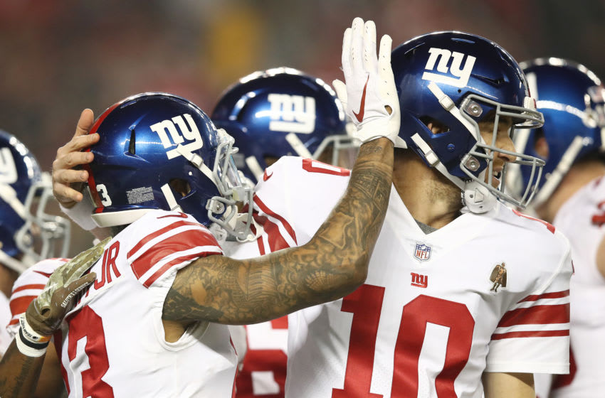 SANTA CLARA, CA - NOVEMBER 12: Odell Beckham #13 of the New York Giants celebrates with Eli Manning #10 after scoring on a 10-yard pass against the San Francisco 49ers during their NFL game at Levi's Stadium on November 12, 2018 in Santa Clara, California. (Photo by Ezra Shaw/Getty Images)