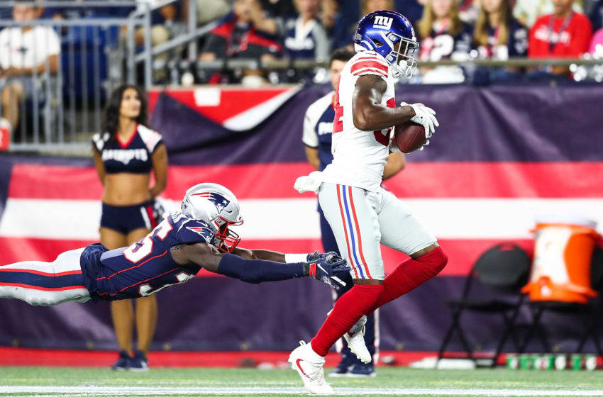 FOXBOROUGH, MA - AUGUST 29: Alonzo Russell #84 of the New York Giants scores a touchdown during a preseason game against the New England Patriots t Gillette Stadium on August 29, 2019 in Foxborough, Massachusetts. (Photo by Adam Glanzman/Getty Images)