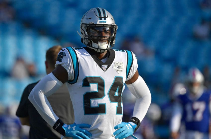 CHARLOTTE, NORTH CAROLINA - AUGUST 16: James Bradberry #24 of the Carolina Panthers against the Buffalo Bills during the first half of their game at Bank of America Stadium on August 16, 2019 in Charlotte, North Carolina. (Photo by Grant Halverson/Getty Images)