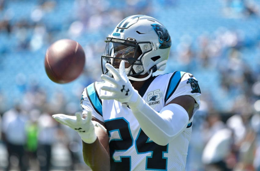 CHARLOTTE, NORTH CAROLINA - SEPTEMBER 08: James Bradberry #24 of the Carolina Panthers catches the ball during their game against the Los Angeles Rams at Bank of America Stadium on September 08, 2019 in Charlotte, North Carolina. The Rams won 30-23. (Photo by Grant Halverson/Getty Images)
