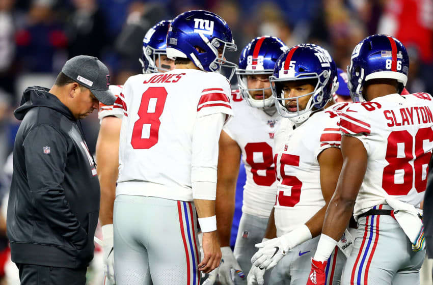 FOXBOROUGH, MASSACHUSETTS - OCTOBER 10: Daniel Jones #8 of the New York Giants talks with Golden Tate #15 during warm ups prior to the game against the New England Patriots at Gillette Stadium on October 10, 2019 in Foxborough, Massachusetts. (Photo by Adam Glanzman/Getty Images)