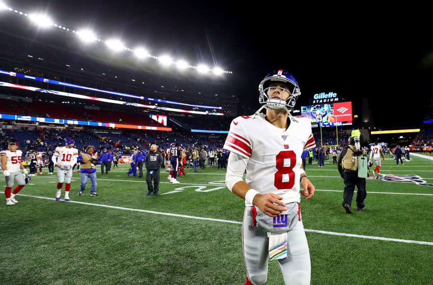 FOXBOROUGH, MASSACHUSETTS - OCTOBER 10: Daniel Jones #8 of the New York Giants reacts after being defeated by the New England Patriots in the game at Gillette Stadium on October 10, 2019 in Foxborough, Massachusetts. (Photo by Adam Glanzman/Getty Images)