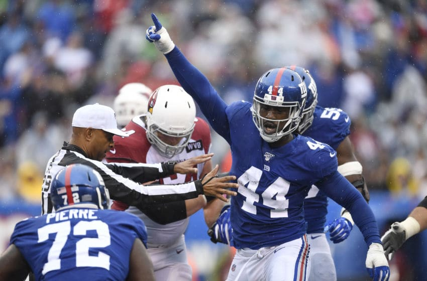 EAST RUTHERFORD, NEW JERSEY - OCTOBER 20: Markus Golden #44 of the New York Giants reacts after making a sack during the second quarter of the game against the Arizona Cardinals at MetLife Stadium on October 20, 2019 in East Rutherford, New Jersey. (Photo by Sarah Stier/Getty Images)