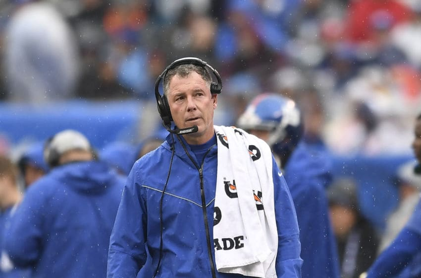 EAST RUTHERFORD, NEW JERSEY - OCTOBER 20: Head coach Pat Shurmur of the New York Giants looks on during the second quarter of the game against the Arizona Cardinals at MetLife Stadium on October 20, 2019 in East Rutherford, New Jersey. (Photo by Sarah Stier/Getty Images)