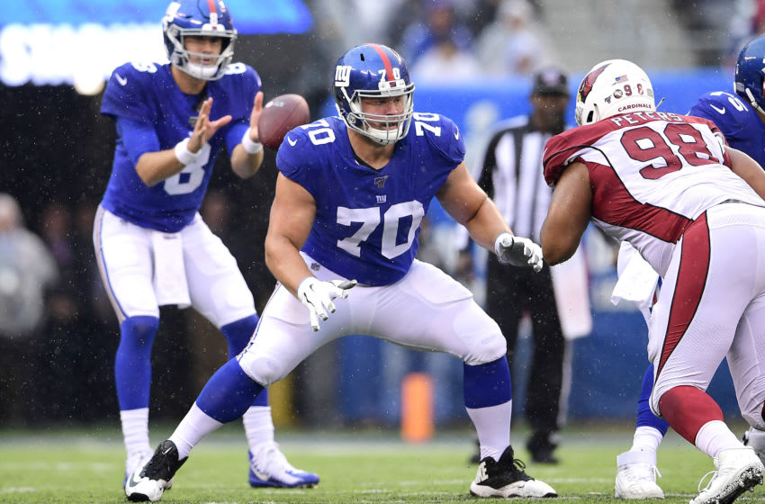 EAST RUTHERFORD, NEW JERSEY - OCTOBER 20: Kevin Zeitler #70 of the New York Giants in action against the Arizona Cardinals at MetLife Stadium on October 20, 2019 in East Rutherford, New Jersey. (Photo by Steven Ryan/Getty Images)