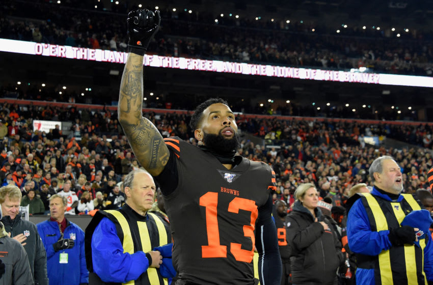 CLEVELAND, OHIO - NOVEMBER 14: Wide receiver Odell Beckham #13 of the Cleveland Browns stands on the sidelines before the game against the Pittsburgh Steelers at FirstEnergy Stadium on November 14, 2019 in Cleveland, Ohio. (Photo by Jason Miller/Getty Images)