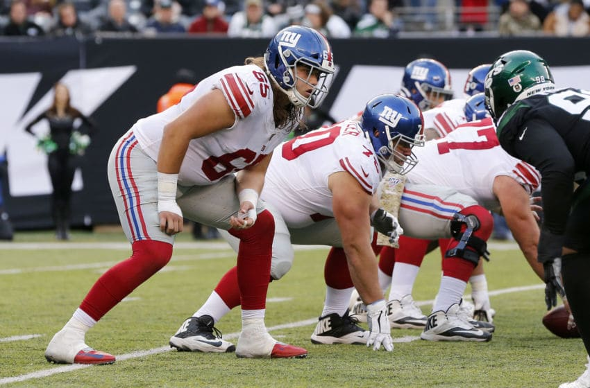EAST RUTHERFORD, NEW JERSEY - NOVEMBER 10: (NEW YORK DAILIES OUT) Nick Gates #65 of the New York Giants in action against the New York Jets at MetLife Stadium on November 10, 2019 in East Rutherford, New Jersey. The Jets defeated the Giants 34-27. (Photo by Jim McIsaac/Getty Images)