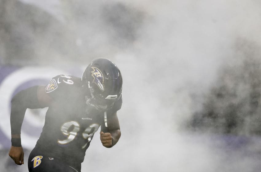 BALTIMORE, MD - DECEMBER 01: Matt Judon #99 of the Baltimore Ravens takes the field before the game against the San Francisco 49ers at M&T Bank Stadium on December 1, 2019 in Baltimore, Maryland. (Photo by Scott Taetsch/Getty Images)