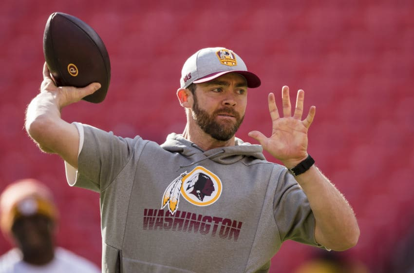 LANDOVER, MD - DECEMBER 15: Colt McCoy #12 of the Washington Redskins warms up before the game against the Philadelphia Eagles at FedExField on December 15, 2019 in Landover, Maryland. (Photo by Scott Taetsch/Getty Images)