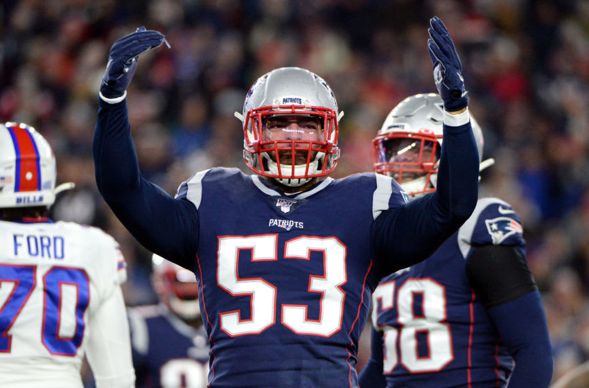 FOXBOROUGH, MASSACHUSETTS - DECEMBER 21: Kyle Van Noy #53 of the New England Patriots celebrates during the first half against the Buffalo Bills in the game at Gillette Stadium on December 21, 2019 in Foxborough, Massachusetts. (Photo by Kathryn Riley/Getty Images)