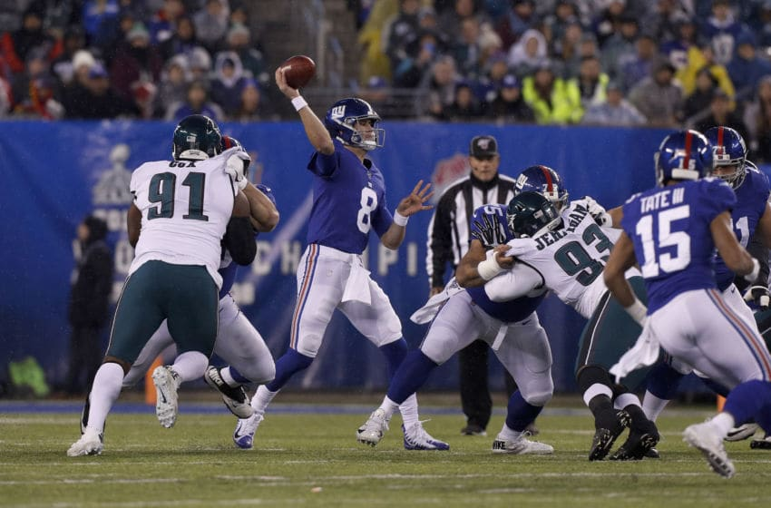 EAST RUTHERFORD, NEW JERSEY - DECEMBER 29: (NEW YORK DAILIES OUT) Daniel Jones #8 of the New York Giants in action against the Philadelphia Eagles at MetLife Stadium on December 29, 2019 in East Rutherford, New Jersey. The Eagles defeated the Giants 34-17. (Photo by Jim McIsaac/Getty Images)
