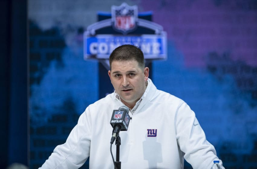 INDIANAPOLIS, IN - FEBRUARY 25: Head coach Joe Judge of the New York Giants speaks to the media at the Indiana Convention Center on February 25, 2020 in Indianapolis, Indiana. (Photo by Michael Hickey/Getty Images) *** Local Capture *** Joe Judge