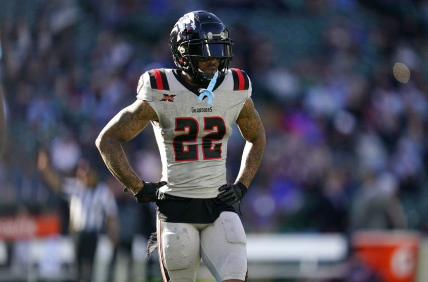 ARLINGTON, TX - MARCH 7: Dravon Askew-Henry #22 of the New York Guardians looks on during the XFL game against the Dallas Renegades at Globe Life Park on March 7, 2020 in Arlington, Texas. (Photo by Cooper Neill/XFL via Getty Images)
