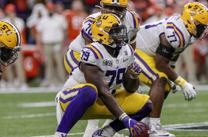 NEW ORLEANS, LA - JANUARY 13: Center Lloyd Cushenberry, III #79 of the LSU Tigers during the College Football Playoff National Championship game against the Clemson Tigers at the Mercedes-Benz Superdome on January 13, 2020 in New Orleans, Louisiana. LSU defeated Clemson 42 to 25. (Photo by Don Juan Moore/Getty Images)