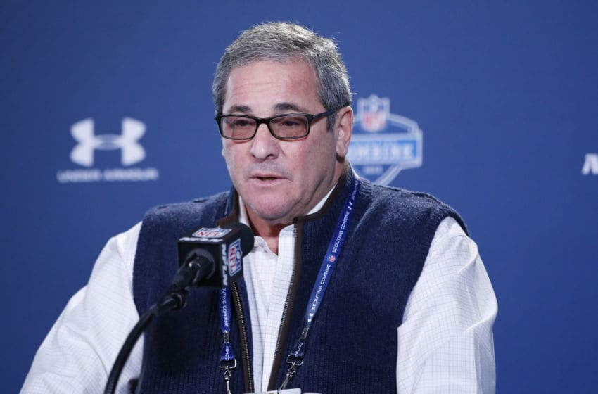 INDIANAPOLIS, IN - FEBRUARY 19: Carolina Panthers general manager Dave Gettleman speaks to the media during the 2015 NFL Scouting Combine at Lucas Oil Stadium on February 19, 2015 in Indianapolis, Indiana. (Photo by Joe Robbins/Getty Images)