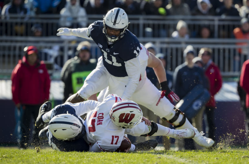 STATE COLLEGE, PA - NOVEMBER 10: Shareef Miller #48 of the Penn State Nittany Lions sacks Jack Coan #17 of the Wisconsin Badgers during the first half at Beaver Stadium on November 10, 2018 in State College, Pennsylvania. (Photo by Scott Taetsch/Getty Images)