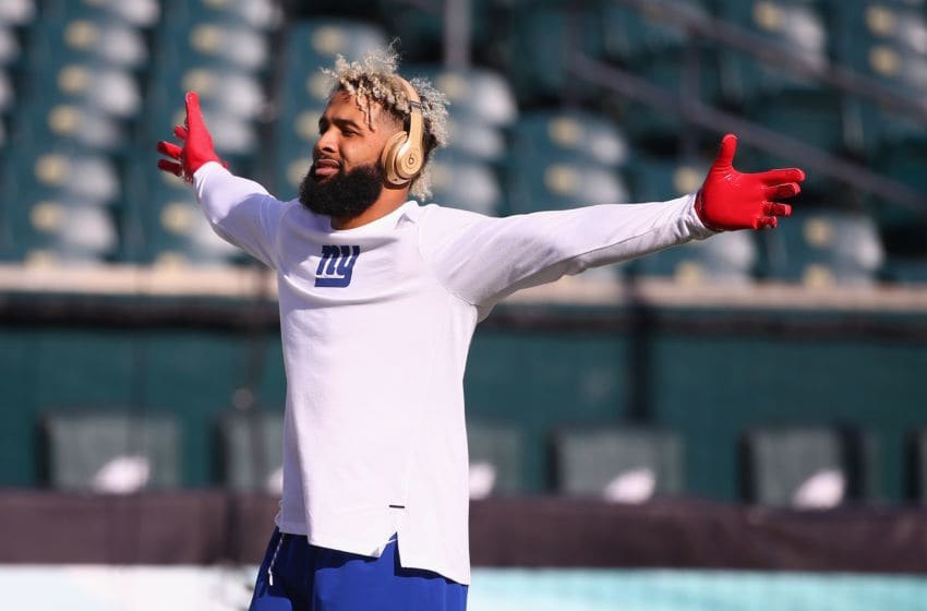 PHILADELPHIA, PA - NOVEMBER 25: Wide receiver Odell Beckham #13 of the New York Giants warms up before taking on the Philadelphia Eagles at Lincoln Financial Field on November 25, 2018 in Philadelphia, Pennsylvania. (Photo by Mitchell Leff/Getty Images)