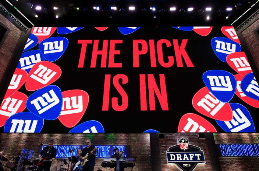NASHVILLE, TENNESSEE - APRIL 25: A general view of a video board as the New York Giants pick is announced during the first round of the 2019 NFL Draft on April 25, 2019 in Nashville, Tennessee. (Photo by Andy Lyons/Getty Images)
