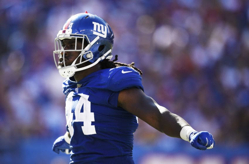 EAST RUTHERFORD, NEW JERSEY - SEPTEMBER 15: Markus Golden #44 of the New York Giants reacts during the third quarter of the game against the Buffalo Bills at MetLife Stadium on September 15, 2019 in East Rutherford, New Jersey. (Photo by Sarah Stier/Getty Images)