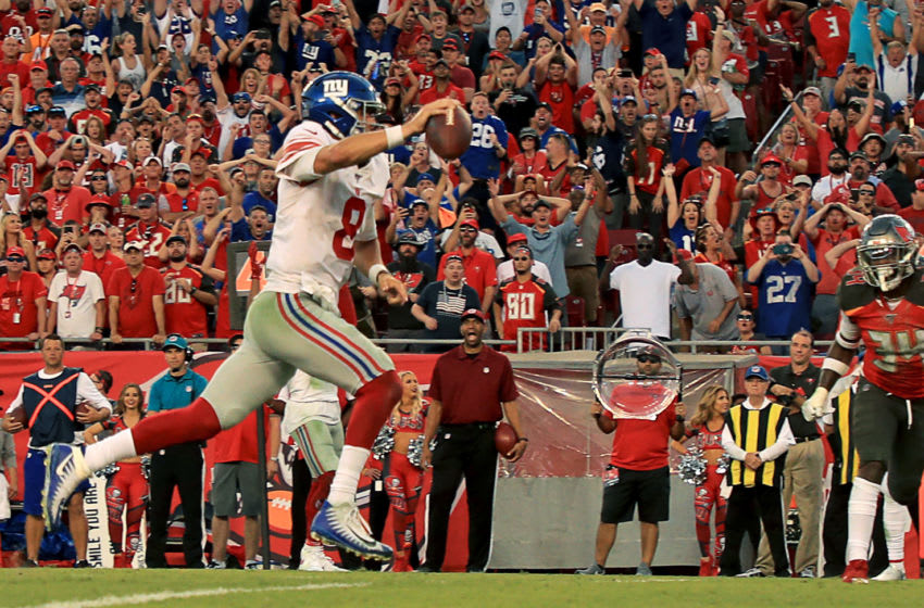 TAMPA, FLORIDA - SEPTEMBER 22: Daniel Jones #8 of the New York Giants scores a 4th quarter touchdown during a game against the Tampa Bay Buccaneers at Raymond James Stadium on September 22, 2019 in Tampa, Florida. (Photo by Mike Ehrmann/Getty Images)