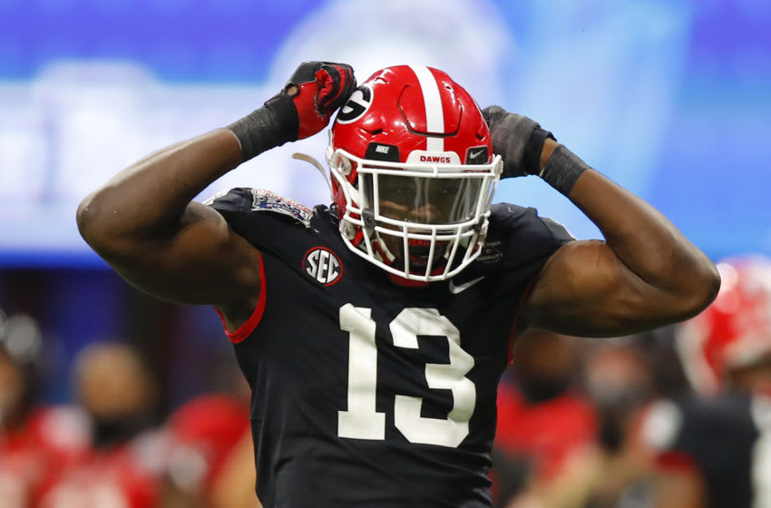 Azeez Ojulari #13 of the Georgia Bulldogs (Photo by Todd Kirkland/Getty Images)