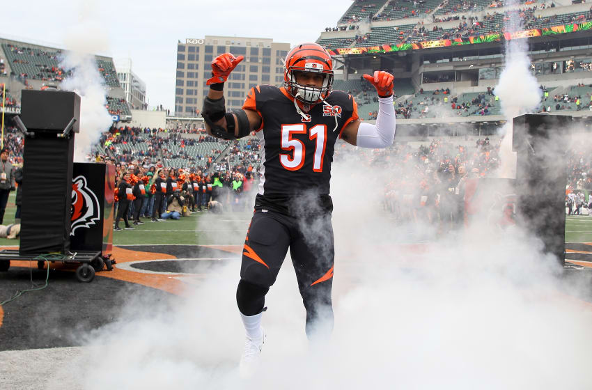 CINCINNATI, OH - DECEMBER 10: Kevin Minter #51 of the Cincinnati Bengals takes the field during player introductions prior to the game against the Chicago Bears at Paul Brown Stadium on December 10, 2017 in Cincinnati, Ohio. (Photo by John Grieshop/Getty Images)