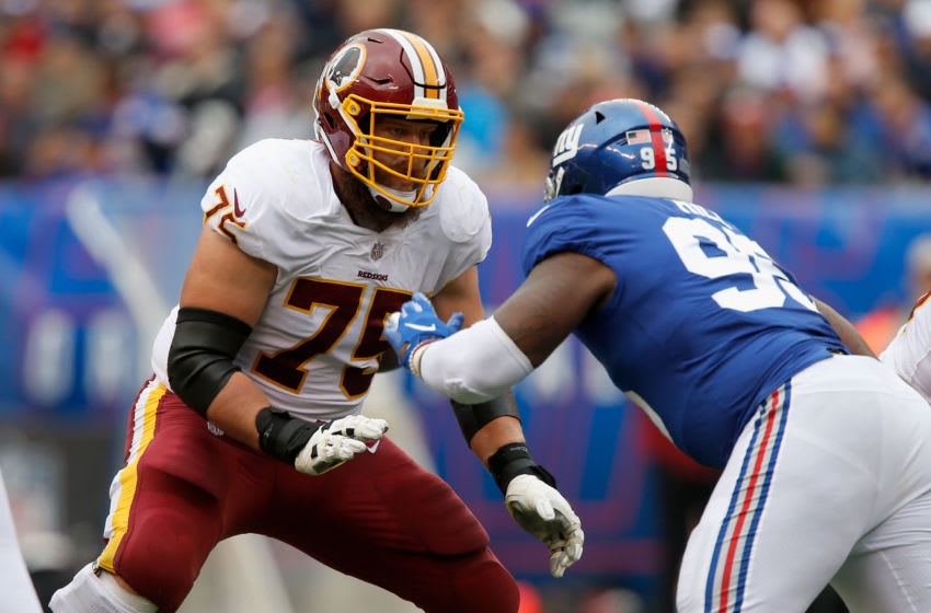 EAST RUTHERFORD, NJ - OCTOBER 28: (NEW YORK DAILIES OUT) Brandon Scherff #75 of the Washington Redskins in action against the New York Giants on October 28, 2018 at MetLife Stadium in East Rutherford, New Jersey. The Redskins defeated the Giants 20-13. (Photo by Jim McIsaac/Getty Images)