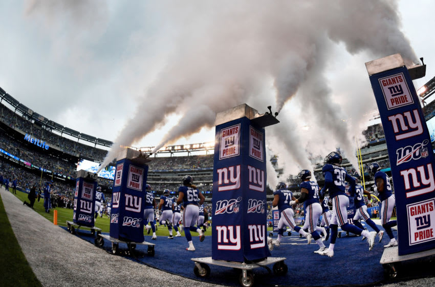 EAST RUTHERFORD, NEW JERSEY - OCTOBER 20: The New York Giants take the field before the first quarter of the game against the Arizona Cardinals at MetLife Stadium on October 20, 2019 in East Rutherford, New Jersey. (Photo by Sarah Stier/Getty Images)